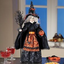Witch Standing Black Web Dress Tabletop Halloween Doll