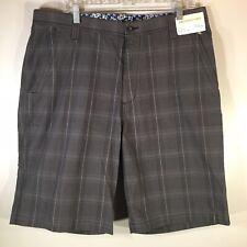 NWT Pronto Uomo Men's Sz 38 Waist 100% Cotton Charcoal Gray Plaid Bermuda Shorts