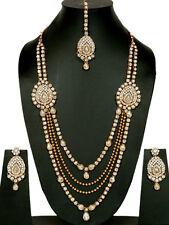 Gold Tone White Kundan Set Necklace Wedding Jewelry Bridal Long Bollywood Women