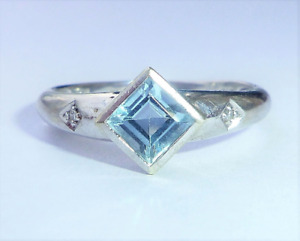 9ct White Gold Princess Cut Blue Topaz and Diamond Solitaire Ring, Size P