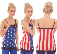 STARS & STRIPES VEST TOP FANCY DRESS PARTY SLEEVELESS LACE DETAIL ALTERNATIVE