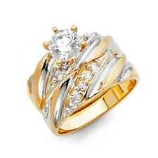 Her 14k Yellow Gold CZ Solitaire Channel Bridal Set Wedding Engagement Ring Band