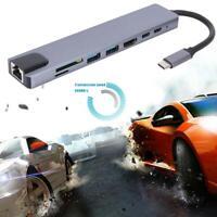 8 in 1 TYPE-C HUB Gigabit LAN Docking Station USB C Adapter for Notebook