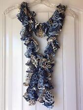 Handmade Crocheted Fashion Ruffle Scarf - Denim
