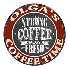 CWCT-0277 OLGA'S COFFEE TIME Chic Tin Sign Decor Gift Ideas