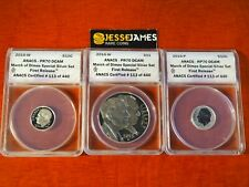 2015 P REVERSE PROOF SILVER MARCH OF DIMES ANACS PR70 / 70/ 70 W W P 3 COIN SET