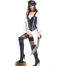 Ladies Sexy Buccaneer Caribbean Pirate Costume Fancy Dress Halloween outfit UK