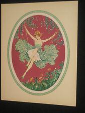 MARCEL LEBOULTE VINTAGE BOUDOIR ART PRINT 1930 SEXY SEMI NUDE GIRL ON  THE SWING