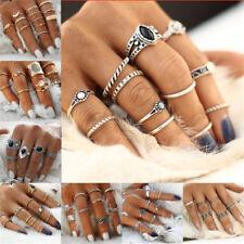 Vintage 15pcs/set Silver Punk Gems Band Ring Women Retro Finger Rings Boho Style