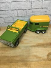Nylint Stables Toy Truck and Horse Trailer Green Yellow Vintage 70's