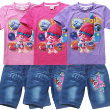 Summer Girls Clothing Set Trolls T-shirt +Jeans Shorts For Girls Poppy Costume