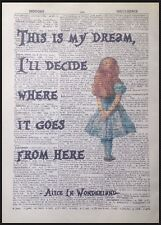 Alice In Wonderland Quote Vintage Dictionary Book Page Print Wall Art Picture
