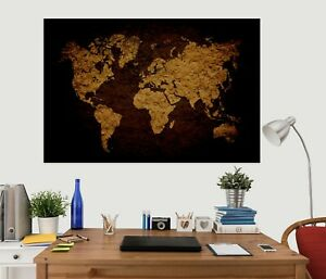 3D Golden Vintage KEP48 World Map Character Wall Mural Decal Stickers Poster Kay