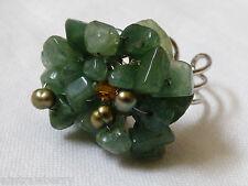 cluster Fashion Ring sz 7 adjustable Silver tone metal green jade stone nugget