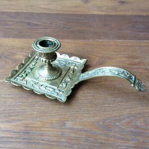 Bougeoir à Main Ancien en Bronze Doré XIXè Antique Candle Holder