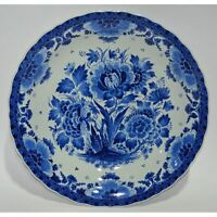 Hand Painted Blue & White Floral Dutch Royal Delft Porceleyne Fles Plate Charger