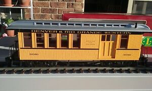 LGB G Scale Model Train. Combine Coach-Baggage. 3081 Yellow Sides, Silver roof.