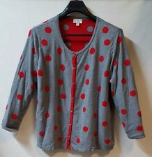 Quacker Factory Cardigan Sweater Size 3X Grey Red Polka Dots Mock Twin Set