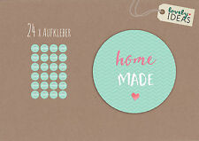 "24 x Geschenkaufkleber ""Homemade."" 40mm türkis Etiketten Aufkleber Sticker"