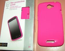 Gel flex protective cover for T-Mobile HTC One S, High Gloss Hot Pink, NEW