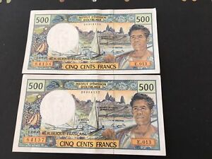 FRENCH-PACIFIC-TERRITORY 500-FRANCS 1992 consecutive aUNC X 2 VERY NICE NOTES020
