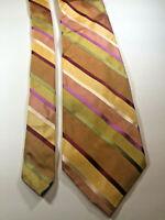"Express Men's Necktie Multi-Color Striped 100% Designer Silk Tie W 3.5"" L 58"""