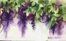 Original Loose Watercolor Purple Garden Grapes Grapevine Vineyard Pamela Wilhelm