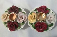 Hermitage White Porcelain Candle Holders with Pink Porcelain Roses-1999-Euce