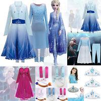 Die Eiskönigin 2 Elsa Anna Kinder Mädchen Kleid Party Karneval Cosplay Kostüm