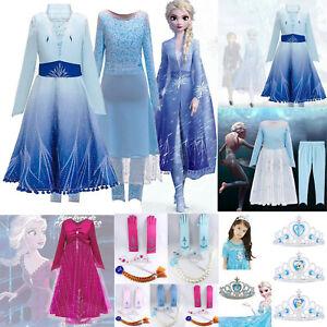 Eiskönigin Frozen 2 Elsa Prinzessin Kinder Mädchen Cosplay Party Kostüm Kleider.