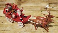 "Vintage 12"" Plastic Christmas Sleigh Santa Claus Holly + 2 Reindeer"