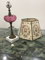VINTAGE LAMP Mid-Century Pink Glass Marble Base Rose Shade Country Cottage Chic