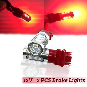 12V 2PCS 3157 Red LED Bulbs Stop Brake Flash Strobe Rear Light Fog Tail lamp