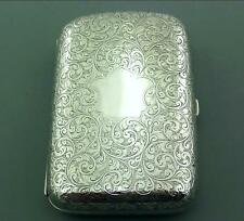 SUPERB VICTORIAN SOLID STERLING FOLIATE ENGRAVED SILVER CIGAR CASE