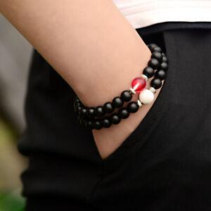 8mm Black Howlite Onyx Red Moonstone OM Beads Charm Bracelet Men Women Jewelry