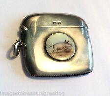 Antique 1909 hallmarked stg silver vesta, w cute enamelled piglet on front