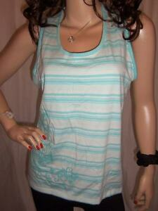 8/2 NEW AQUA BLUE WHITE STRIPED RACING BACK SLEEVELESS ETHEL AUSTEN TOP 20-22