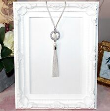 Flapper/1920's long silver plate necklace with pearl & rhinestone tassel pendant