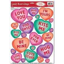 Candy Heart Window Clings Valentines Day Vday Party Supplies Decor