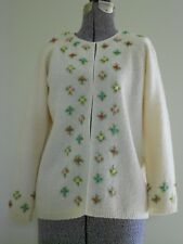 dda9c5b8d0 Vintage Cyn Les Cardigan Sweater Ivory w Embroidered Roses Excellent  Condition