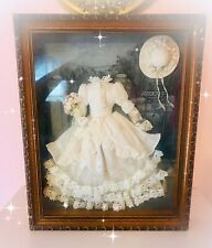 "Vintage SHADOW BOX Frame 17"" X13"" X 2.5"" W Silk DRESS & HAT Evening Print"