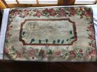 Wonderful Antique American Hooked Rug With Dog w/Lots of repair possibly Frost