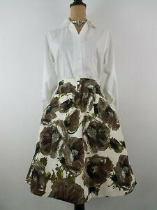New J Crew Paintbrush Floral Bell Skirt Size 4 Green Ivory Gathered Waist Pocket