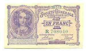 Belgium German Occupation WWI Societe Generale de Belgique 1 Franc 1915 XF