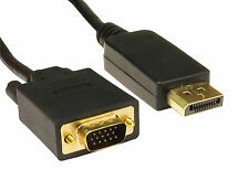 1m 1 Metre DisplayPort to VGA Cable Lead Display Port SVGA Gold Contacts 20 pin