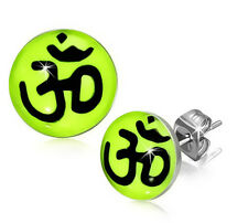 Yoga Aum Om Ohm Bright Yellow Stainless Steel Stud Post Earrings