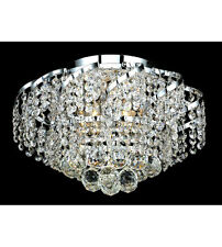 "Palace Toro 16"" 6 light Crystal Chandelier Flush Mount Ceiling Light Chrome"