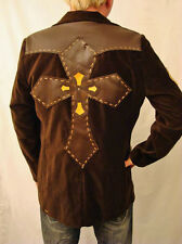 Men's Brown Velvet Blazer with Leather Cross Patches Sz. M or S