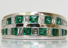█$6600 3.80CT NATURAL DIAMOND EMERALD RING F/VS PLATINUM 15 GRAM SIZE 7