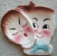 deforest of california boy and girl spooners ceramic spoon rest vintage 1950s